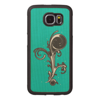 Fancy Abstract Black White Curved Scroll on Aqua Wood Phone Case