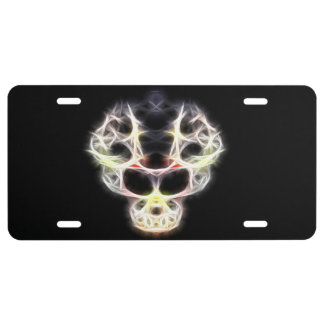 Fancy abstract human skull license plate