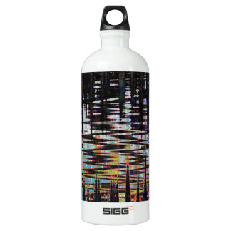 Fancy Abstract Wave Print Template  add text image Aluminum Water Bottle
