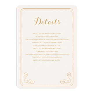 "Fancy Affair Wedding Insert Card - Blush & Gold 4.5"" X 6.25"" Invitation Card"