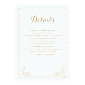 Fancy Affair Wedding Insert Card - Gold & White Personalized Invites