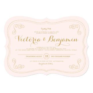 """Fancy Affair Wedding Invitation - Blush & Gold 5"""" X 7"""" Invitation Card"""