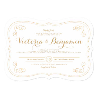 Fancy Affair Wedding Invitation - Gold & White