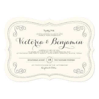 """Fancy Affair Wedding Invitation - Ivory & Black 5"""" X 7"""" Invitation Card"""