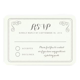 Fancy Affair Wedding RSVP Card - Ivory & Black