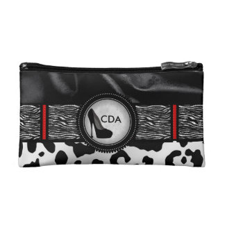 Fancy Animal Print Monogram Cosmetic Bag
