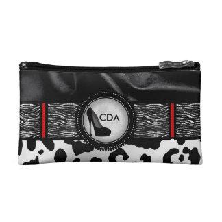 Fancy Animal Print Monogram Cosmetic Bag