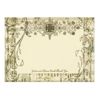 Fancy Antique Music Personalized Thank You Notes Custom Announcement