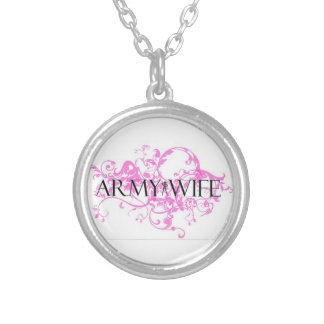 Fancy Army Wife Round Pendant Necklace