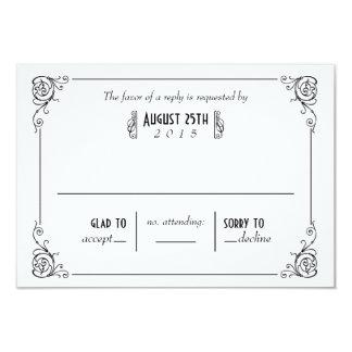Fancy Art Deco Black & White RSVP Cards Personalized Announcement