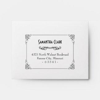 Fancy Art Deco Black & White RSVP Envelopes