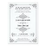 Fancy Art Deco Black & White Wedding Invitations