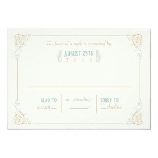 Fancy Art Deco Blue & Cream RSVP Cards Custom Invites