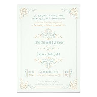 Fancy Art Deco Blue & Cream Wedding Invitations