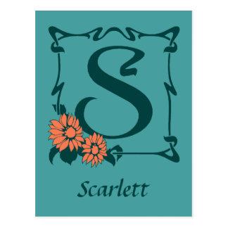 Fancy art nouveau letter S Postcard