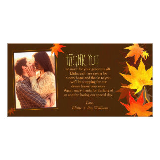 Fancy Autumn Maple Wedding Thank You Card