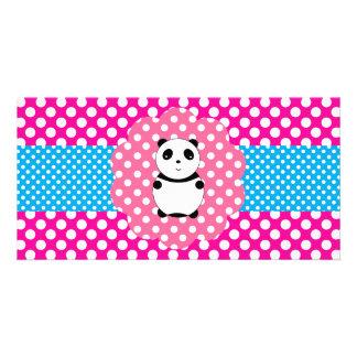 Fancy baby panda polka dots personalized photo card