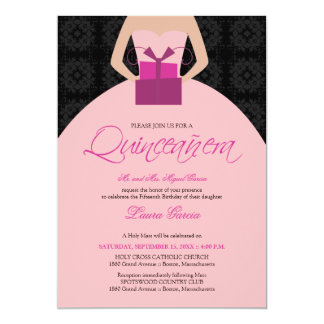 Fancy Ball Gown Quinceanera Invitation (black)