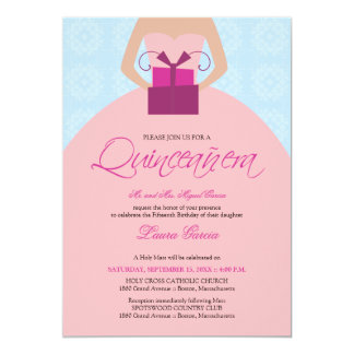 Fancy Ball Gown Quinceanera Invitation (blue)