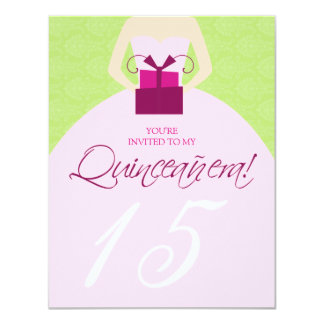 Fancy Ball Gown Quinceanera Invitation (green)
