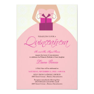 Fancy Ball Gown Quinceanera Invitation (ivory)