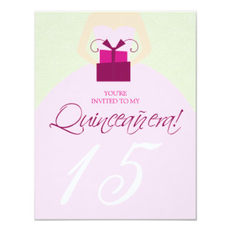 Fancy Ball Gown Quinceanera Invitation (sage)