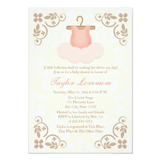 Fancy Ballerina Tutu Baby Shower Invitation Zazzle Com