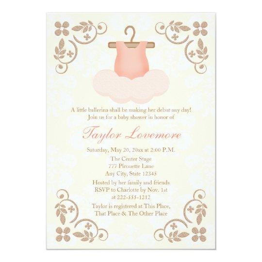 FANCY BALLERINA TUTU BABY SHOWER INVITATION