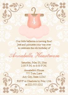 Girls tutu birthday party invitations announcements zazzle fancy ballerina tutu birthday invitations filmwisefo