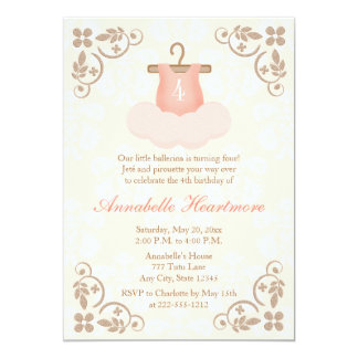 FANCY BALLERINA TUTU BIRTHDAY INVITATIONS