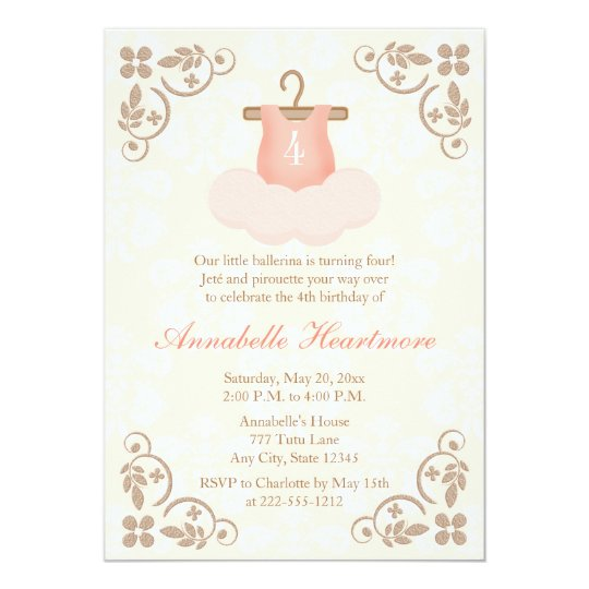 Fancy ballerina tutu birthday invitations zazzle fancy ballerina tutu birthday invitations filmwisefo Image collections