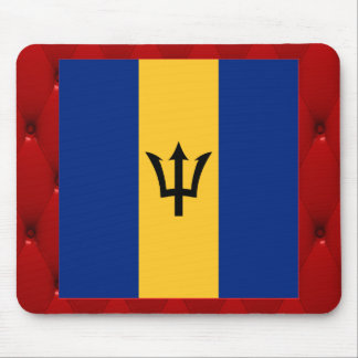 Fancy Barbados Flag on red velvet background Mouse Pad