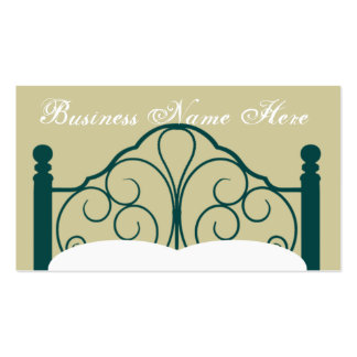 Fancy Bed Frame Graphic with Pillows Business Card Templates
