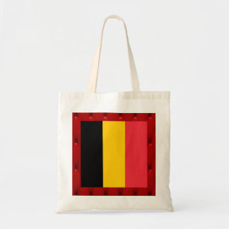 Fancy Belgium Flag on red velvet background Budget Tote Bag