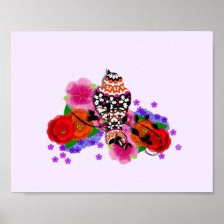 Fancy Bird Colorful Flowers Print
