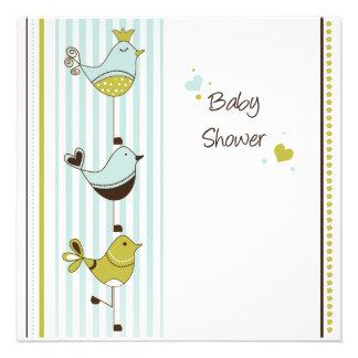 Fancy Birds Baby Invitation