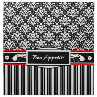 Fancy Black and White Floral Art Deco Damask Cloth Napkin