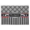 Fancy Black and White Floral Art Deco Damask Place Mat
