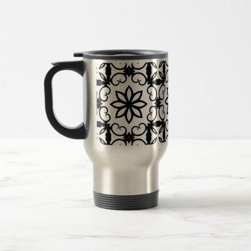Fancy black and white flower kaleidoscope 15 oz stainless steel travel mug zazzle - Fancy travel coffee mugs ...
