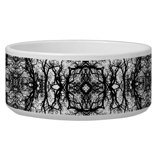 Fancy Black and White Pattern Dog Water Bowl