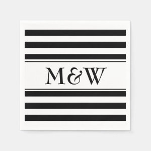 Fancy black and white striped napkins for wedding