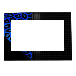 Fancy Black Cheetah Abstract Magnetic Photo Frame