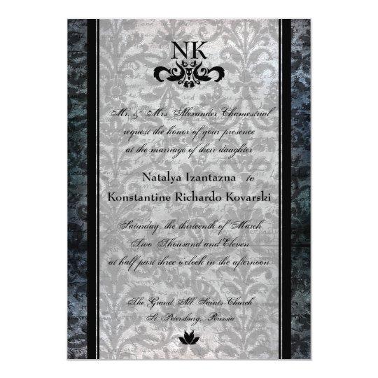 Fancy Black Damask Oval Goth Wedding Invite