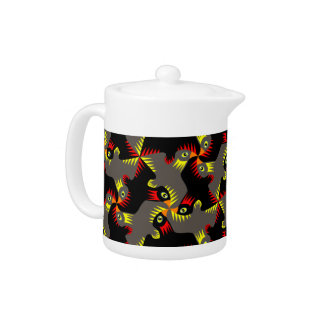 Fancy Black Flying Birds Tea Pot