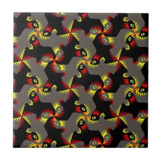 Fancy Black Flying Birds Tile