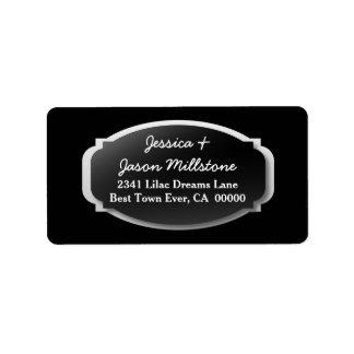 Fancy Black Frame Custom Color Background A02 Label