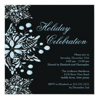 Fancy Black Jewel Snowflakes Holiday Party Card