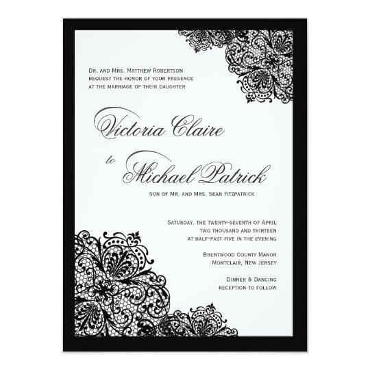 Fancy Black Lace Script Wedding Invitations – Black Lace Wedding Invitations