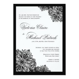 Fancy Black Lace Script Wedding Invitations