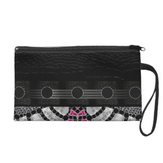 Fancy Black Pink Abstract Wristlet